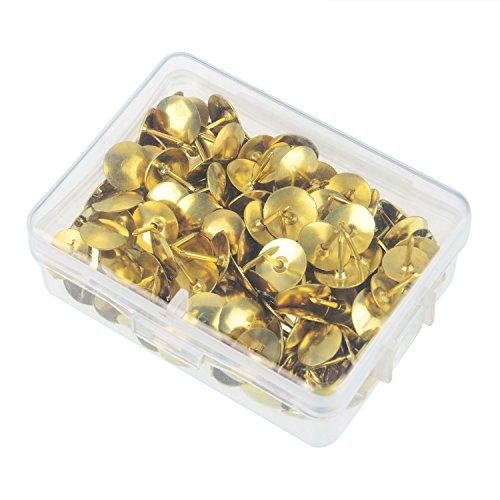 Shappy 400 Pieces Thumb Tacks Drawing Pins Pushpins Thumbtacks for Office or DIY, 10 mm Head, Silver and Brass Tone Photo #4