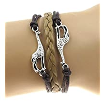 """Best Wing Jewelry """"Giraffe"""" Brown Cord Braid Synthetic-Leather Bracelets (Adjustable)"""