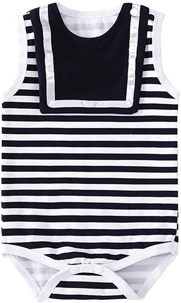 Womola Newborn Infant Baby Summer Clothes Casual Outfit Striped Romper Print Bodysuit Jumpsuit For 0-18 Months