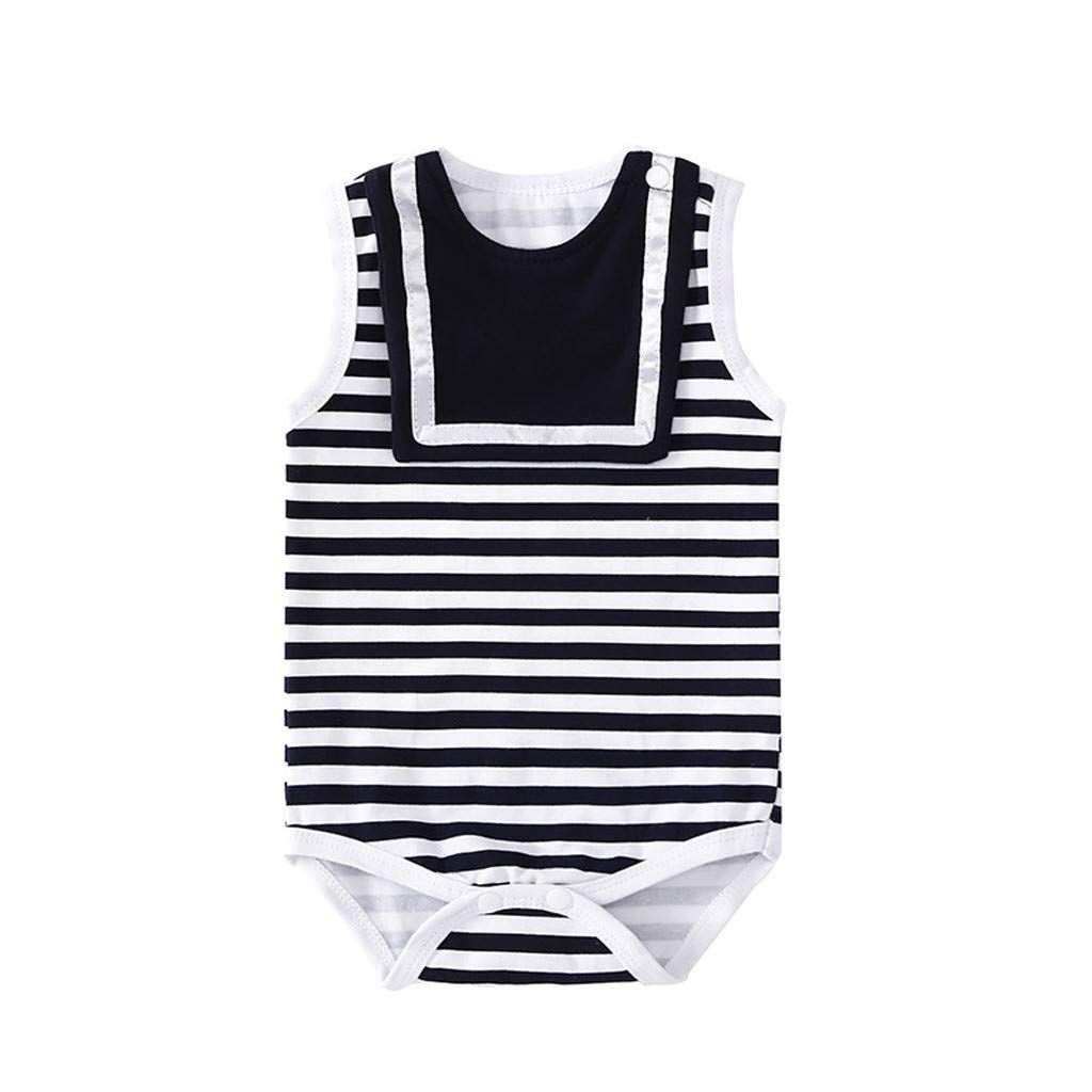 NUWFOR Infant Baby Kids Sleeveless Striped Bodysuit Romper Dress Clothing Outfit(White,6-9 Months)