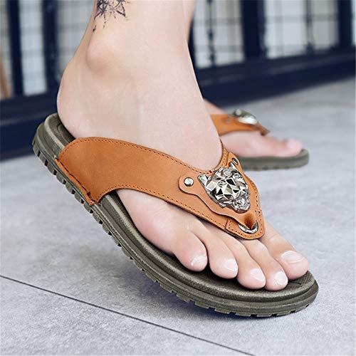 Marrón Casuales para Marrón EU 3 Adultos Chanclas Zapatos Color De tamaño Cuero 2 Clásicas Wangcui Sandalias 42 04qwAEax