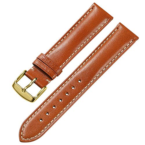 iStrap 20mm Genuine Calfskin Leather Watch Band Strap Steel Gold Buckle Replacement