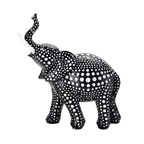 Redeco Premium Polyresin Elephant Figurine Sculpture Home Office Room Decors Desk House Decoration Black White Spot (6 Inch Height)