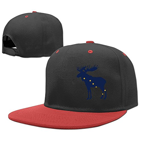 Hip Hop Baseball Cap Adjustable Hat Alaska State Animal Moose Flag Boys-Girls