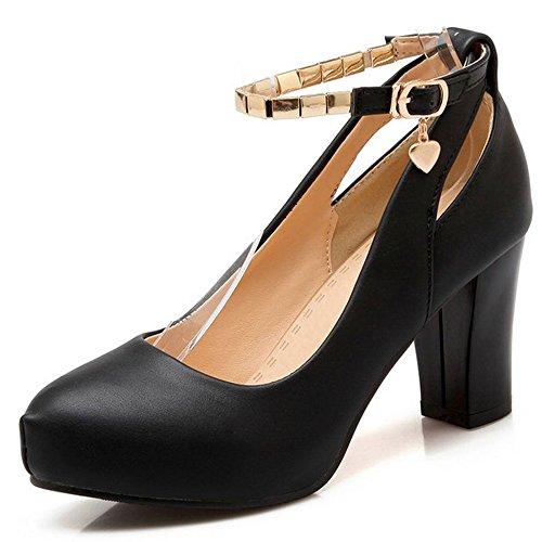 LongFengMa Women Ankle Strap Block Kitten Heel Shoes Classics Ladies Pumps Office Fashion Platform Shoes Black 9nX2oirnL