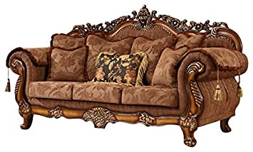 Meridian Furniture 681 S Sheraton Upholstered Solid Wood Sofa With Rolled  Arms, Traditional Hand