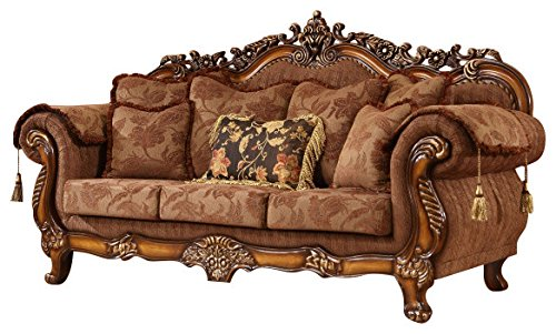 Meridian Furniture 681-S Sheraton Upholstered Solid Wood Sofa with Rolled Arms, Traditional Hand Carved Designs, and Imported Fabrics, Cherry Finish - Fabric Cherry Finish