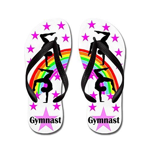 Cafepress Star Gymnast - Flip Flops, Grappige String Sandalen, Strand Sandalen Zwart