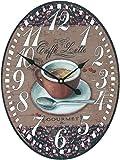 running 13BDX430 Reloj Vintage de Pared, Café Oval con Péndulo