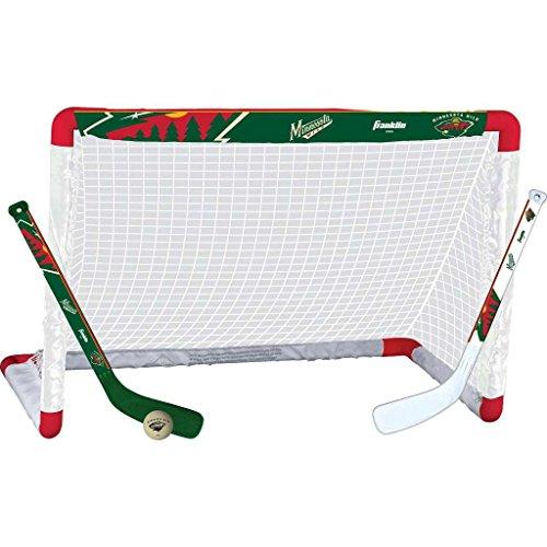Franklin Sports Minnesota Wild Mini Hockey Knee Hockey Goal, Ball & 2 Stick Combo Set - 28