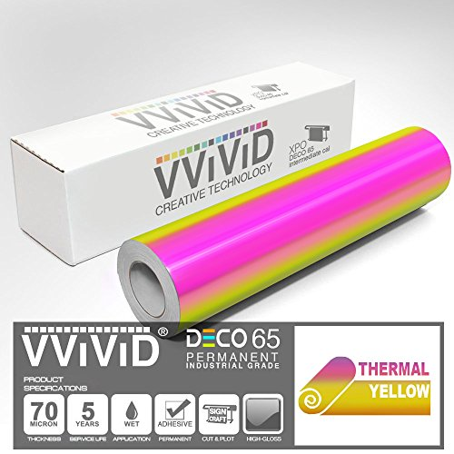 VViViD DECO65 High Gloss Thermal Gold-to-Pink Opal Holographic Adhesive Craft Vinyl Roll for Die-Cutter and Plotting Machines (5ft x 12)