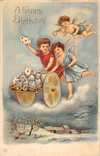 Happy Birthday Angel Cherub Letter Cart Antique Postcard ()