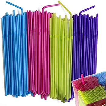 Flexible Colored Drinking Straws | Disposable Bendy Plastic Straws | Party Straws | Colorful Straws for Kids | Party Goods Pack | BPA Free |450 Count
