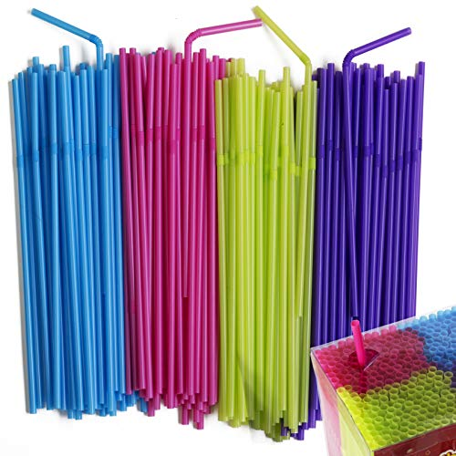 (Disposable Flexible Drinking Straws - Neon Colored Bendy Plastic Straws | Colorful Party Fun Straws | Bulk Pack | Kid Friendly | BPA Free | 450 Count By MontoPack)