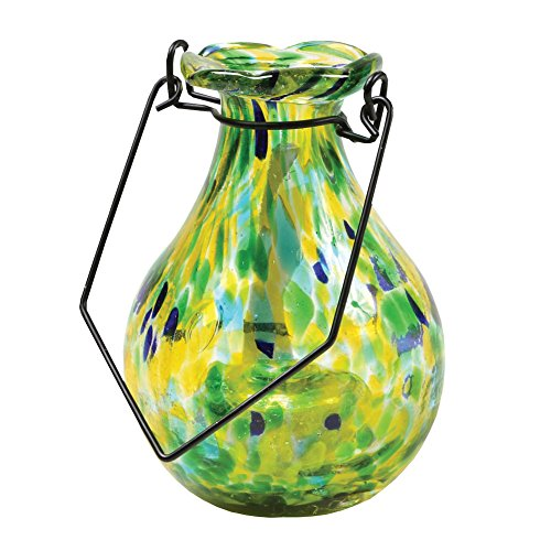Solar Glass Flower Vase - Automatically Illuminates At Night - Spring Green