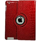 iPad 2 3 4 Case,FreeAir Crocodile Pattern 360 Degrees Rotating Stand PU Leather Smart Cover for Apple iPad 2/3/4 Automatic Wake/Sleep Function Capability-Red