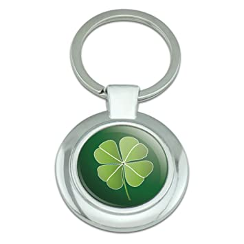 Graphics And More Four Leaf Clover Good Luck Irish Leprechauns Classy Round Chrome Plated Metal Keychain