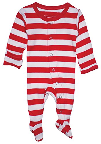 L'ovedbaby Unisex-Baby Organic Cotton Footed Overall (3-6 Months, Red/White Stripe)