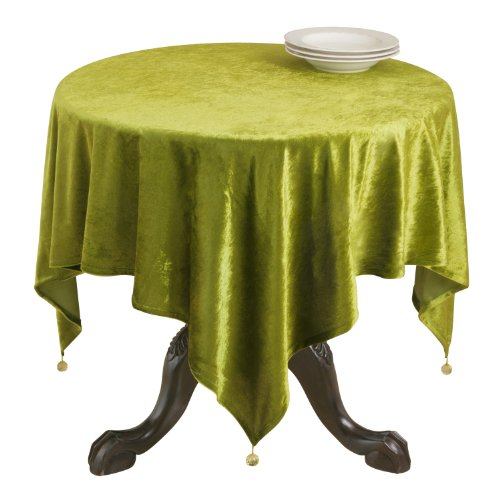 SARO LIFESTYLE 1639V Velveteen Square Tablecloth, 54-Inch, Green