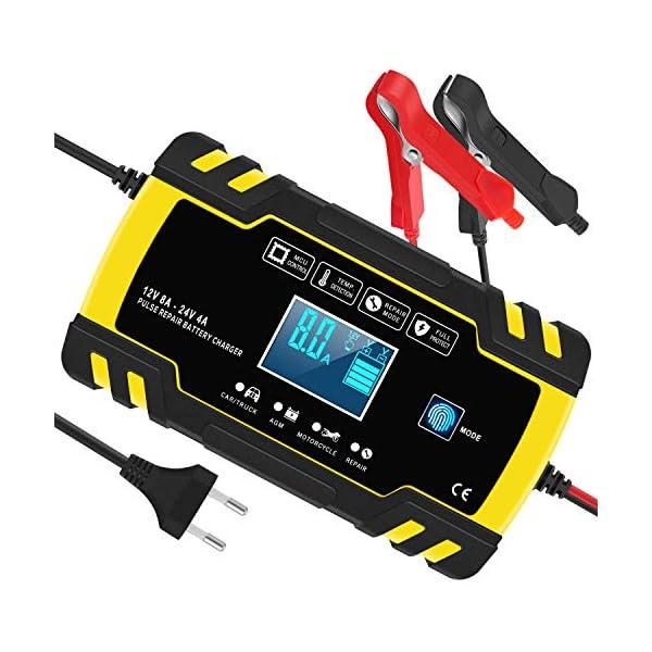 51n17lchRjL Yomao Ladegerät Autobatterie 8A 12V/24V KFZ Batterieladegerät Vollautomatisches Intelligentes Erhaltungsladegerät mit…