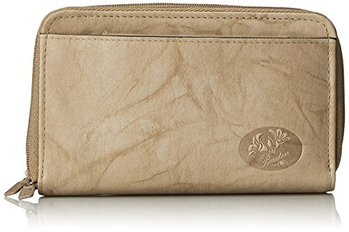 Buxton Heiress Double Zip Organizer Wallet, Taupe, One Size