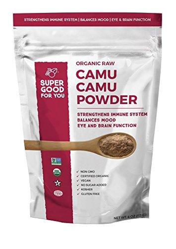 Super Good For You Foods 100% USDA Certified Organic Raw Camu Camu Powder  High in Antioxidants, Vitamin C & Amino Acid  Gluten-Free + Non-GMO + Vegan + No Sugar Added + Kosher, 113 G Bag - Camu Powder