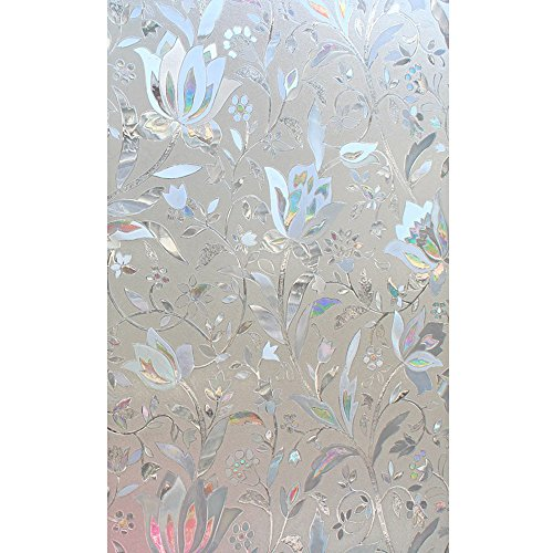 Cideros Stained Glass Window Film Decorative Self Adhesive No Glue Waterproof Static Cling Film For Sliding Glass Doors Stained Glass Panels for Bathroom Bedroom Living Room Privacy