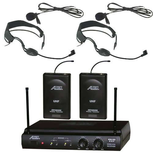 Audio2000s 6032uf UHF Dual Channel Wireless Microphone with Two Headband Headset & Two Lapel (Lavalier) Mic by Audio 2000S