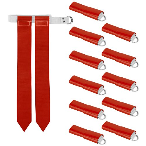 12-Pack Flag Football Team Set - Includes 12 Belts with 24 Flags, Accessories for Flag & Touch Games, Practices, & Training by Crown Sporting Goods (12 Red)
