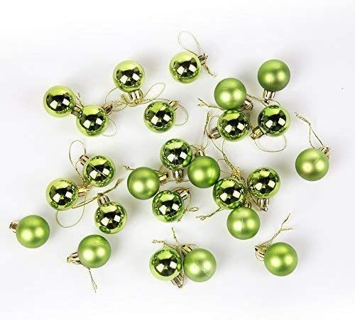 Robelli Pack of 25 Green 2.5cm Miniature Shiny /& Matte Christmas Tree Baubles