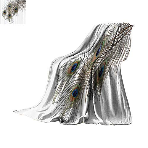 Sweatshirt Zippered Ash - Lightweight Blanket Peacock Decor Collection,A Feather of Peacock Power Animal Rising Out of the Ashes Symbol Creature Artsy Design,White Green Blanket for Sofa Couch Bed Bed or Couch 50