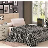 "Microplush Zebra Print Blanket 102""x86"" Fits Queen-king"