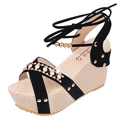 T&Mates Womens Fashion High Wedge Heel Summer Lace Up Beads Platform Shoes Flip Sandals (7.5 B(M)US,Black)