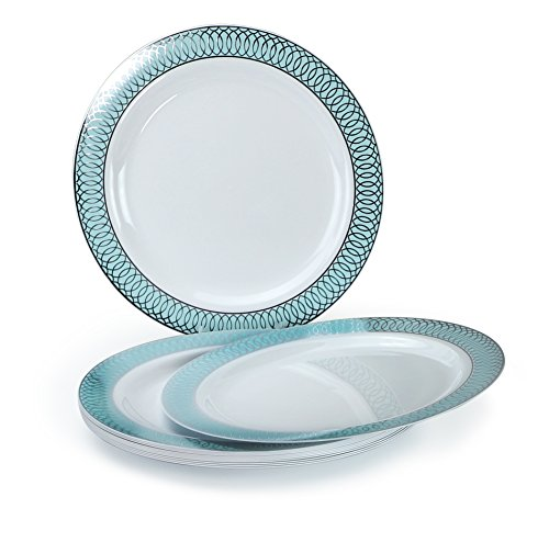 Appetizer Blue (OCCASIONS 120 PACK, Heavyweight Disposable Wedding Party Plastic Plates (7.5'' Appetizer/Dessert Plate, Venice Blue and Silver))
