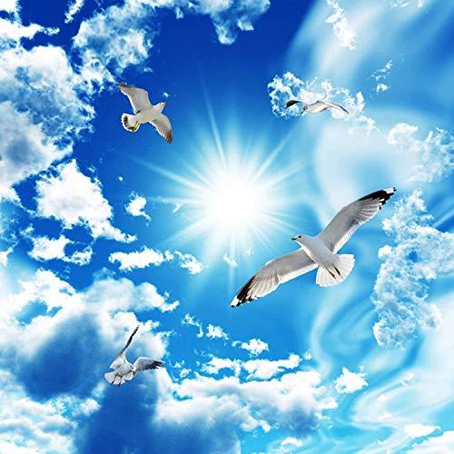 (Di Grandi Dimensioni personalizzato Soffitto Zenith Murale Wallpaper 3D Stereo Cielo Blu con Nuvole Bianche Colomba Natura Paesaggio Foto Murale Soffitto Sfondi cchpfcc-280X200CM)