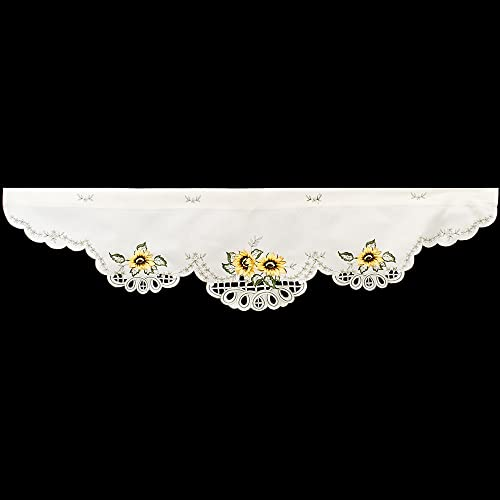 Linens, Art and Things Embroidered Sunflower Window Valance 16 W x 54 L