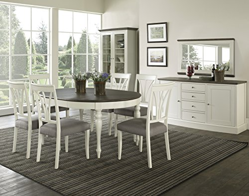 Coastlink Vegas Round to Oval Dining Table Set for 4 with Heritage Oval Back Chairs