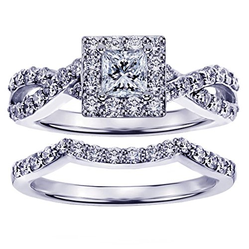 VIP Jewelry Art 1.15 CT TW Braided Princess Cut Diamond Engagement Wedding Band Set in 14k White Gold - Size 7
