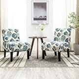 Altrobene Set of 2 Armless Accent Chairs with 4 Pack Removable Washable Covers for Living Room Bedroom (Beige&Floral&Blue)