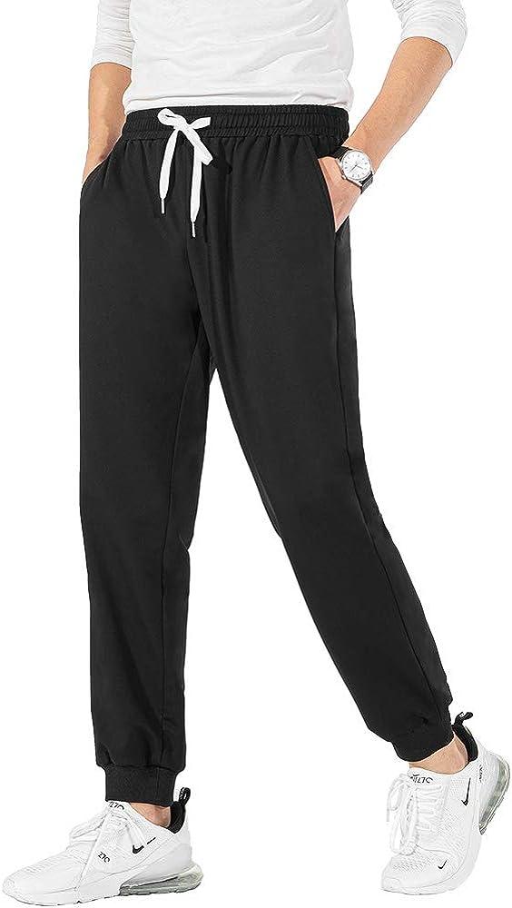 LTIFONE Men's Tapered Running Pants Joggers Workout Sweatpants Elastic Waist