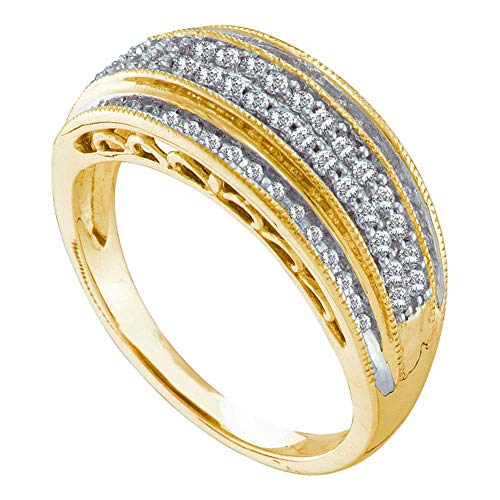 - Dazzlingrock Collection 10kt Yellow Gold Womens Round Diamond Domed Band Ring 3/8 Cttw