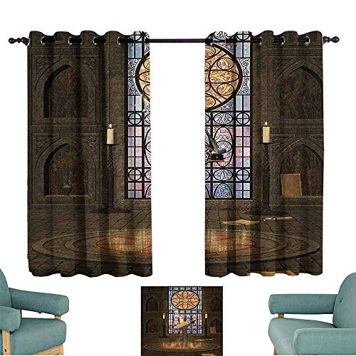 DILITECK Warm Curtain Gothic House Decor Lectern on Pentagram Symbol Medieval Architecture Dark Spell Altar Thermal Insulated Tie Up Curtain W55 xL63 Olive Green Mustard