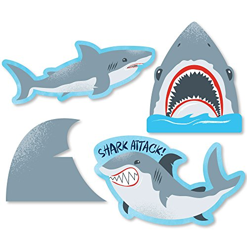 Big Dot of Happiness Shark Zone - DIY Shaped Jawsome Shark Party or Birthday Party Cut-Outs - 24 -