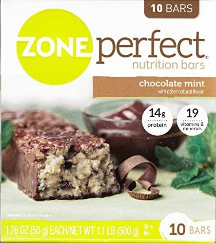 Zone Perfect Nutrition Bar, Chocolate Mint, 1.76 Oz Bar, 10 Count