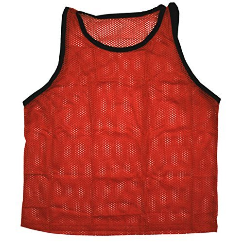 Mesh Training Bibs - Scrimmage Training Vests Soccer Bibs Adult Set of 12 (Red)