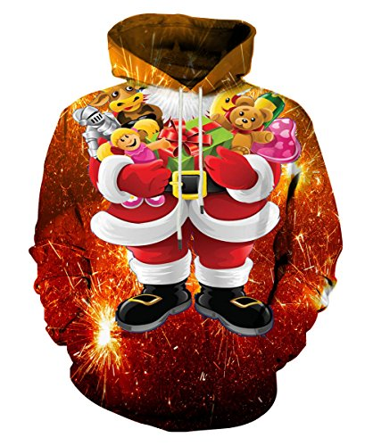 - Neemanndy Unisex 3D Printed Drawstring Pockets Pullover Christmas Hoodie Hooded Sweatshirt, Medium
