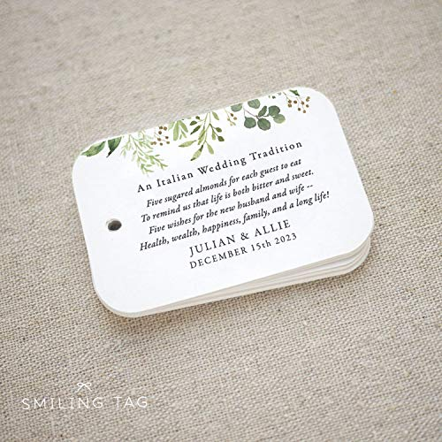 (Greenery Sugared Almonds Personalized Gift Tags, Jordan Almond Favor Tags, Wedding Favor Tag, Italian, Greek, Set of 20 (Item code: J741))