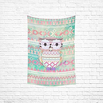InterestPrint Custom Aztec Background Owl Cotton Linen Bedspread Dorm Decor Wall Hanging Tapestry 40x60 inch