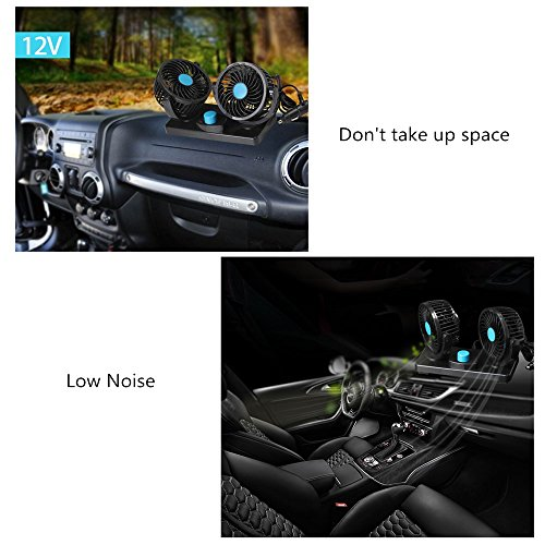 12V Fan Cooling Air Fan Powerful Dashboard Electric Car Fan Low Noise 360 Degree Rotatable with 2 Speed Adjustable for Vehicle Truck RV SUV or Boat by EXCOUP (Image #5)