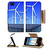 MSD Premium Apple iPhone 5 iPhone 5S Flip Pu Leather Wallet Case iPhone5 IMAGE ID 19576484 Aircraft is flying in eco power of wind turbines and solar panel at concept
